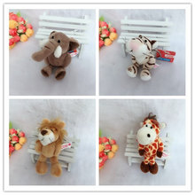 Cute 10cm Germany NICI Jungle Brother Tiger Elephant Monkey Lion Giraffe Plush Animal Keychain Mobile Phone Pendant Toy Gift(China)