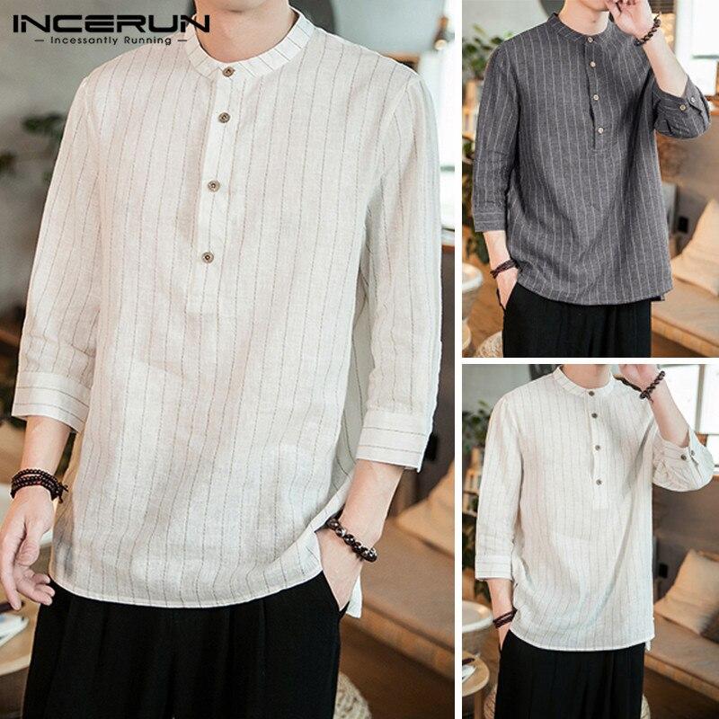 INCERUN 2019 Men Striped Shirt Stand Collar 3/4 Sleeve Button Camisa Pullover Vintage Brand Casual Shirts Men Harajuku Plus Size