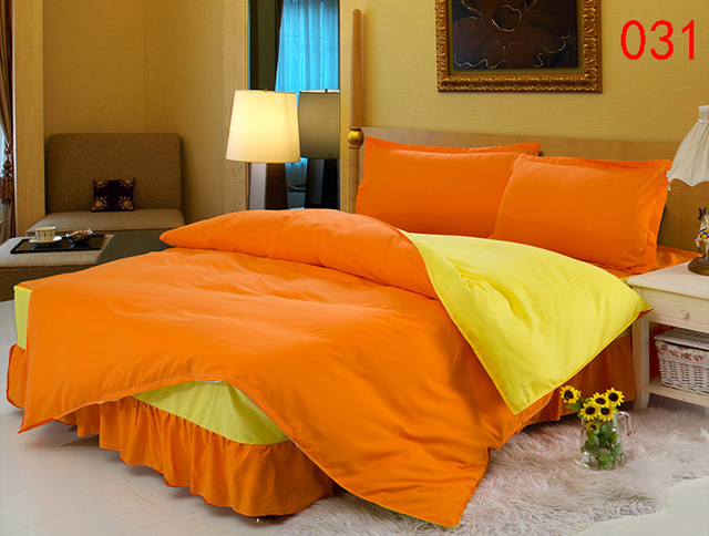 Twin Full Queen Orange Yellow Polyester Bed Skirt 4pcs Bedding Set
