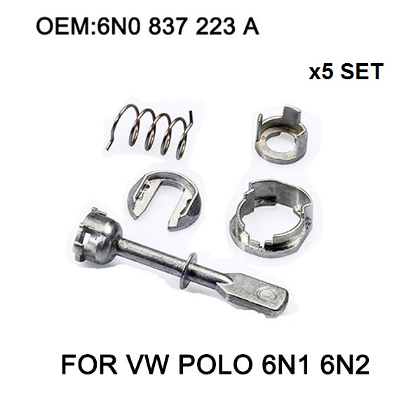 x5 Set Car Iron Door Lock Cylinder Repair Kit For VW POLO 6N1 6N2 1997 2002