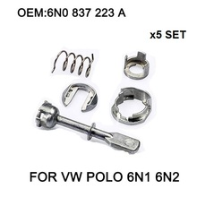 X5 Комплект Автомобиля Железный Замок Двери Цилиндр Ремонт Комплект Для VW POLO 6N1 6N2 1997-2002 Передний Левый или Правый OE #6N0 837 223A Новый