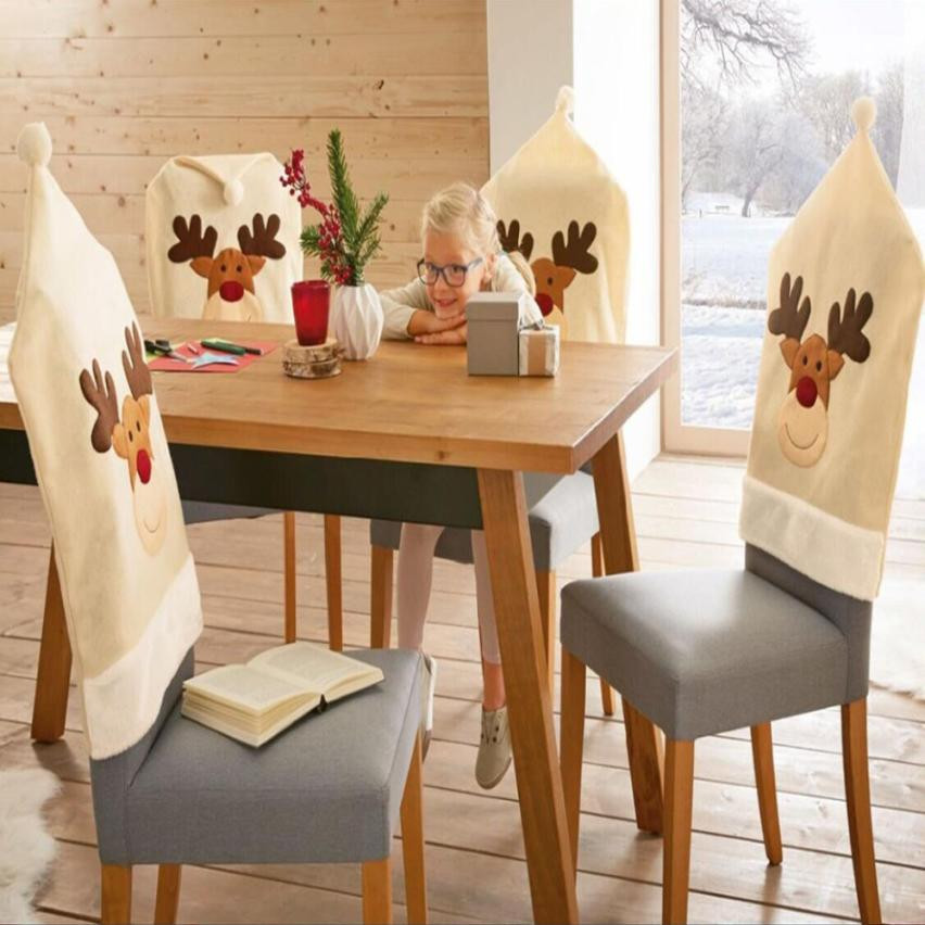 4PC Christmas Hat Chair Covers Xmas Dinner Deer Pattern Chair Cap 2018 New Year Decor For Home Festival Decoration #BF