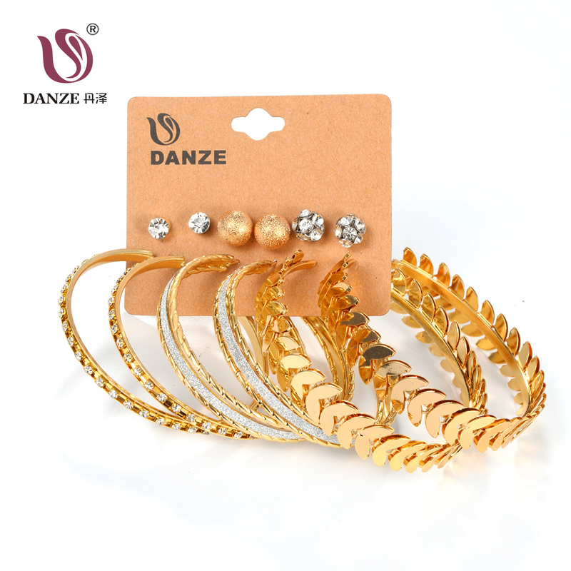 DANZE 6 Pair/lot Fashion Silver Gold Color Big Circle Earrings Set for Women Girls Large Steel Balls Leaf Jewelry