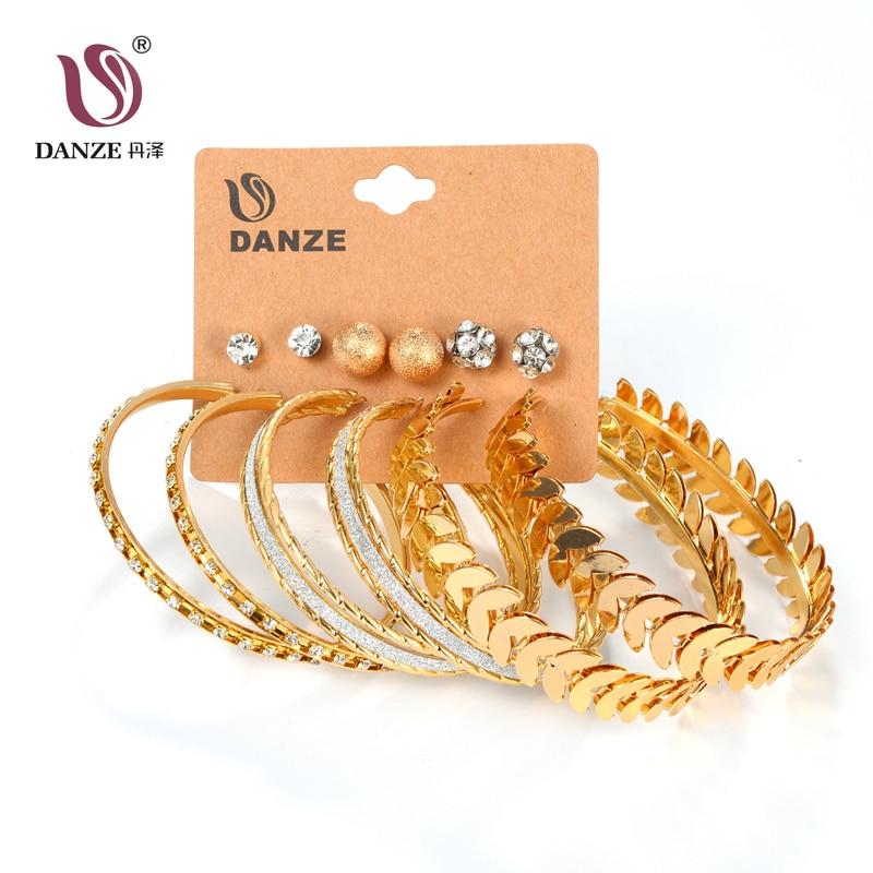 DANZE 6 pár / tétel divat ezüst arany szín nagy kör fülbevaló szett nők lányok nagy acél labdák levél ékszerek