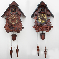 European cuckoo clock chime and light control hand carved wood wall clocks