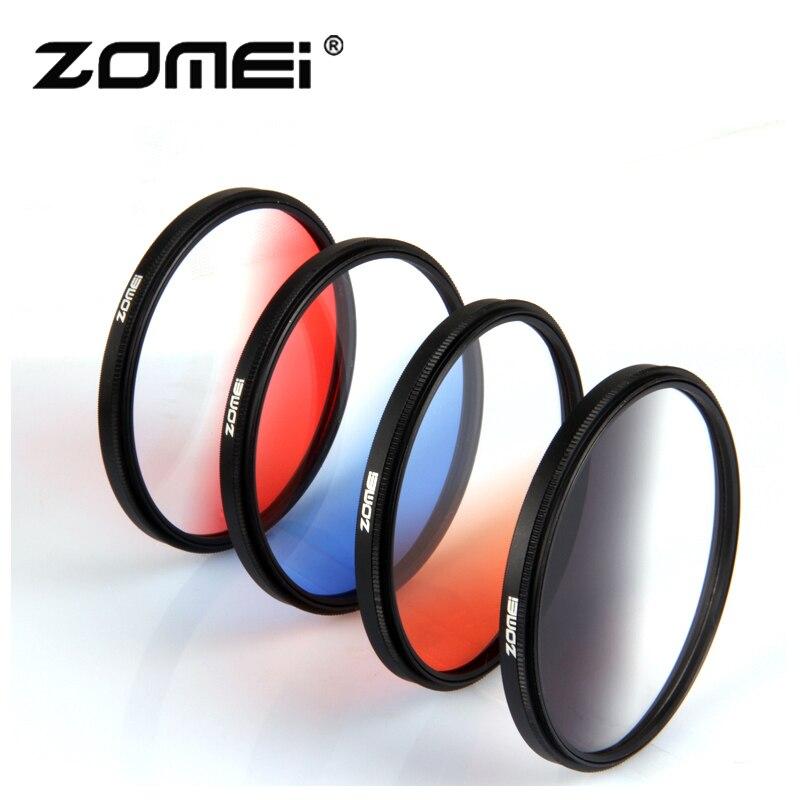 Câmera zomei filtro ultra fino quadro gnd gradula cor filtros azul cinza vermelho laranja 49 55 58 62 67 72 77 82mm para câmera dslr