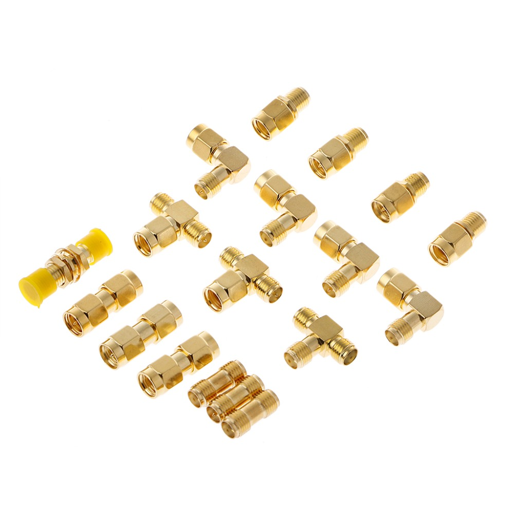 18 Pcs/Set Connector Kits Male Female SMA Plug Antenna Converter Coaxial Adapter
