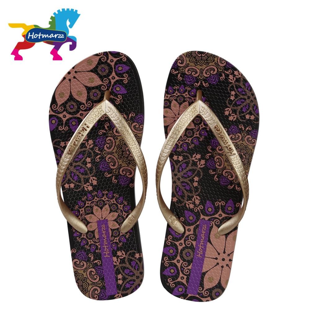 Flip-flops Schuhe Aus Dem Ausland Importiert Hotmarzz Frauen Strand Flip-flops Böhmen Floral Sommer Hausschuhe Damen Mode Sandalen Dusche Rutschen Zu Hohes Ansehen Zu Hause Und Im Ausland GenießEn