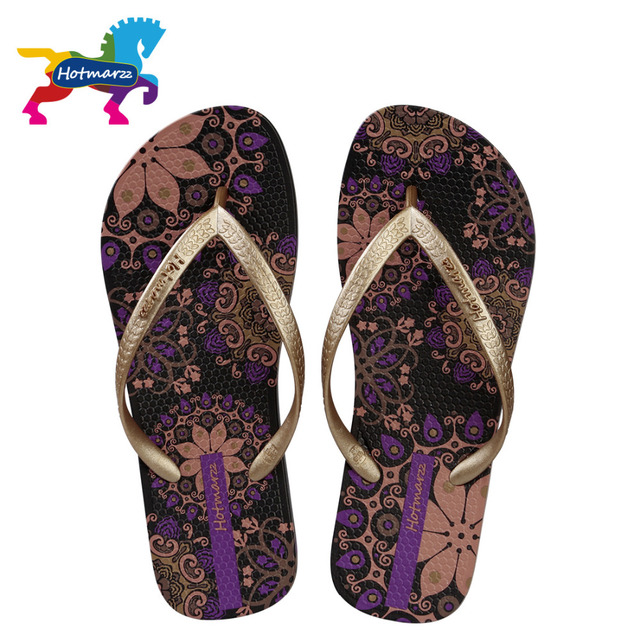 107aa7689424ad Hotmarzz Women Beach Flip Flops Bohemia Floral Summer Slippers Ladies  Fashion Sandals Shower Slides