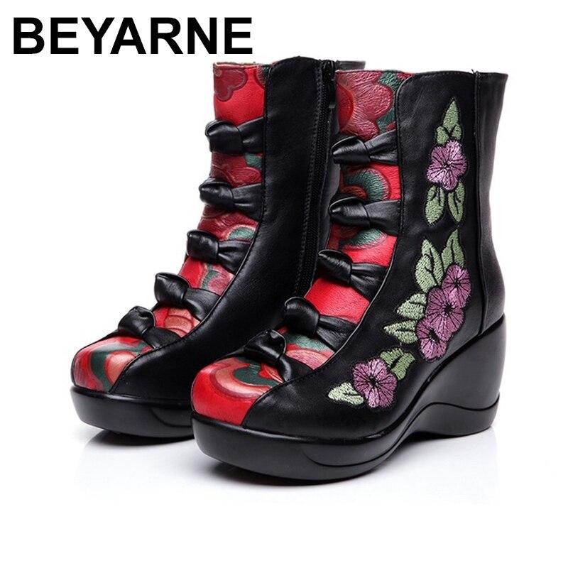 BEYARNE Women's Boots 2018 Autumn Winter New Genuine Leather Wedges Shoes Embroidered Flower Medium-leg warm High Heel Boots girls flower embroidered wide leg jumpsuit