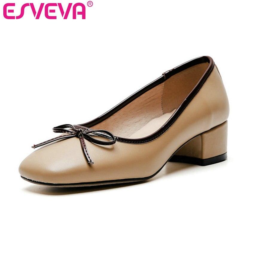 ESVEVA 2019 femmes pompes en cuir de vache carré Med talon papillon-noeud bout carré élégant belles dames chaussures taille 34-40