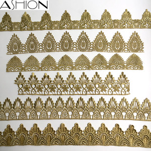 Image 2 - ASHION gold lace silver lace trim water soluble embroidery crown flower sewing lace fabric islamic headscarf hair accessories JB