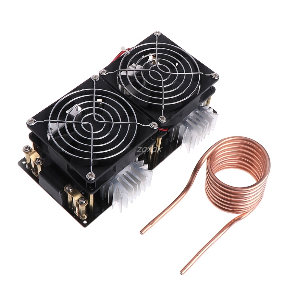 1800W ZVS Induction Heating Board Module Flyback Driver Heater+Tesla Coil+Fan Z07 Drop ship dc12 36v 20a 1000w zvs induction heating module heater with cooling fan copper tube