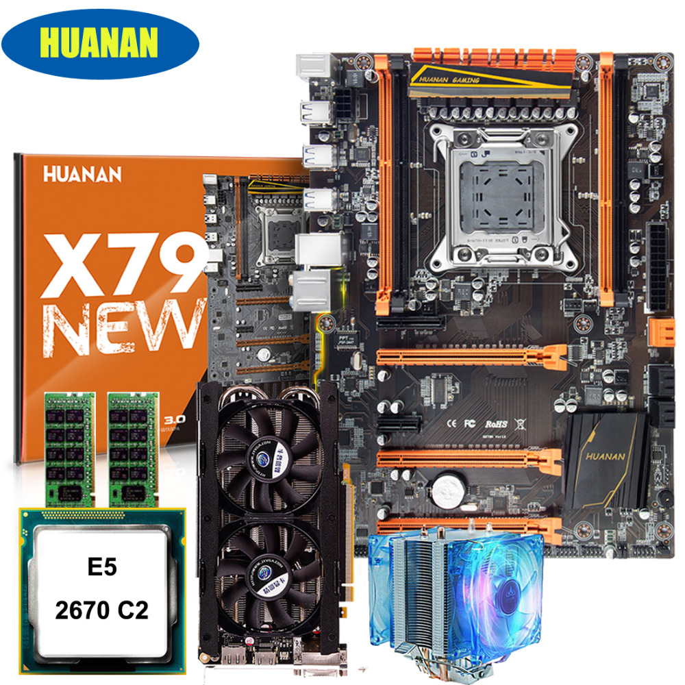 Hot selling HUANAN deluxe X79 gaming motherboard CPU Xeon E5 2670 C2 with cooler RAM 32G(2*16G) DDR3 RECC GTX760 4G video card цена 2017