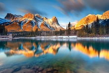 Golden Canada Alberta Canmore gold mountains morning forest lake river reflection 4 Sizes Wall Decor Canvas Poster Print(China)