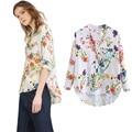 Moda Multicolor V-Neck Floral Imprimir Blusas e Tops 2016 Novas Camisas Casuais Para As Mulheres Vogue Longos Botões Manga Hem Blusa