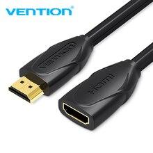 Vention HDMI הארכת כבל 1m 1.5m 2m 3m 5m זכר לנקבה מאריך HDMI כבל 1080P 3D 1.4V עבור HDTV LCD מחשב נייד PS3 מקרן