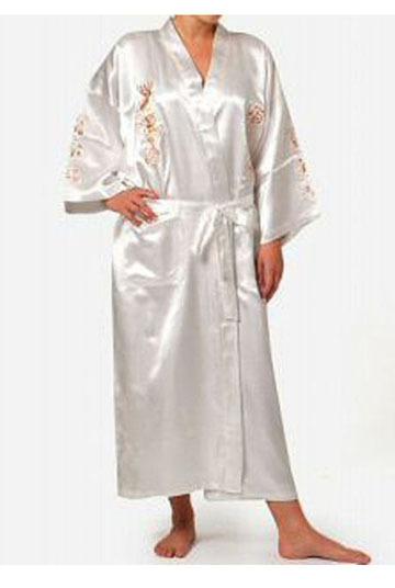 Branco das mulheres chinesas de cetim de seda Robe bordado dragão Kimono Bath vestido verão salão camisola pijamas S M L XL XXL XXXL