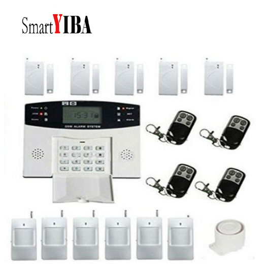 SmartYIBA Home Burglar Security GSM Alarm System Voice Prompt Wireless Infrared Sensor Metal Remote Control Kit SIM SMS Alarm voice prompt wireless door sensor home security gsm alarm systems tft display wired siren kit sim sms alarm metal remote control