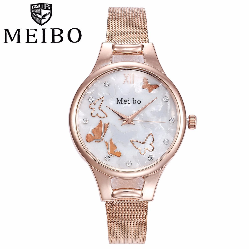 Fashion Women Butterfly Pattern Quartz Watches Casual Ladies Female Stainless Steel MEIBO Watches Clock Relogio Feminino