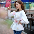 Dabuwawa otoño primavera delgado coreano de moda de manga larga blanco stereo flor sudaderas con capucha