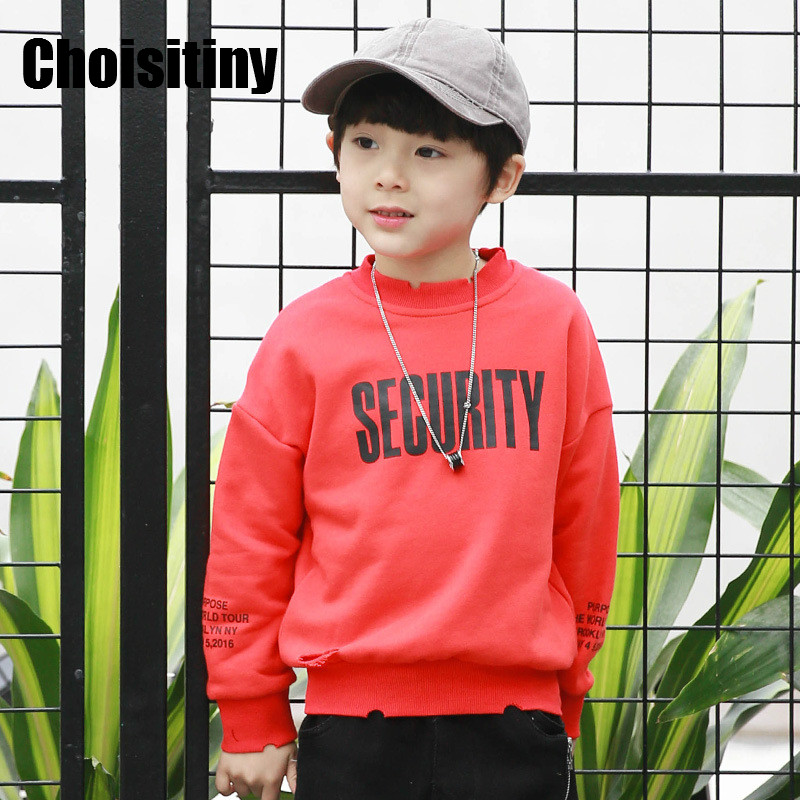 2018 Boys Long SleeveS Street Style Letters Print T-shirt Sweater Spring Children Baby Cotton Coat Korean Security Letters
