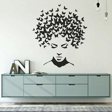 New Design Wall Decal Butterflies in the Head Wall Sticker Home Bedroom Decor Beautiful Woman Face Vinyl Wall Art Murals AY1732 day of the dead girl skull head vinyl wall decal sticker