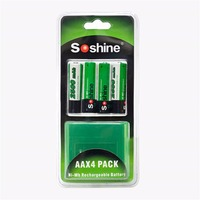 Soshine 4 Pieces Pack Lot 2500mAh AA Battery Ni MH NiMH Mignon Rechargeable Battery For Flashlight
