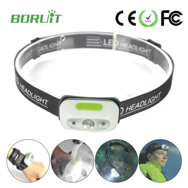 Boruit Mini ir sensor headlight Induction usb rechargeable Headlamp Light cap lightweight Flashlight Head torch lamp for running