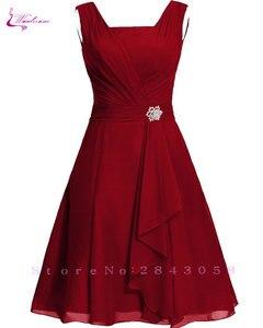 Image 5 - Waulizane 우아한 쉬폰 a 라인 댄스 파티 드레스 지퍼 민소매 공식 드레스 16 색상 사용 가능한 세관 만든 일반 슬리브
