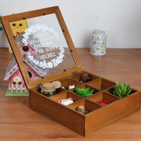 Creative retro wooden storage box / tea storage 9 grid glass cover cosmetics storage box