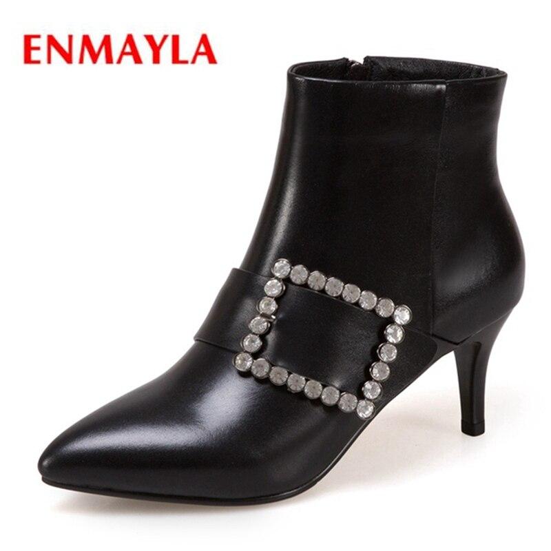 Chaussons Taille En Enmayla Mujer Femme Base 2018 De Zyl1489 Black 34 Bout Botas 43 Véritable Bottines Chaussures Cuir Pointu Pour Zip RqcAj345L