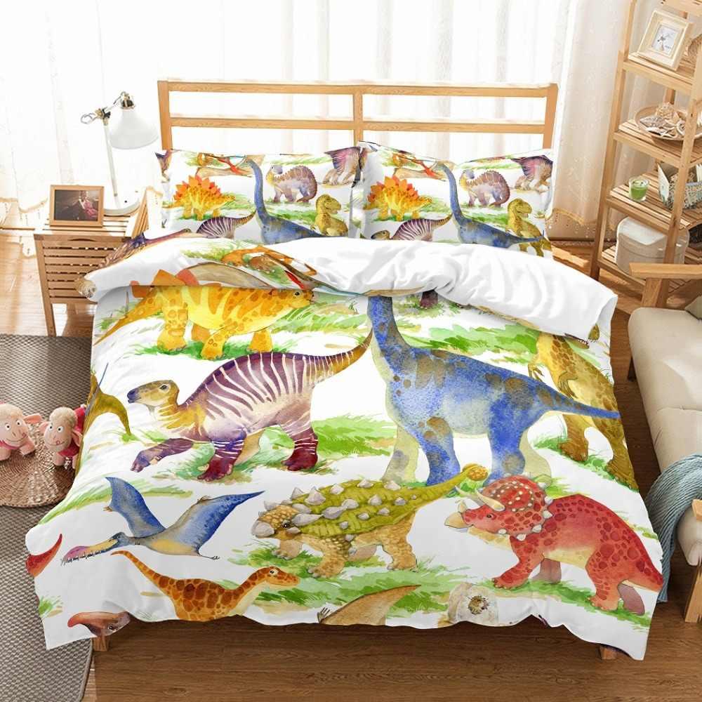Pterozaur Tanystropheus dinozaur zestaw pościeli Kid Cartoon zestaw poszewek czerwone zielone niebieskie łóżko komplet pościeli z poszewką pełna królowa