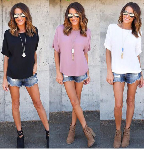 Tops Tee Plus-Size T-Shirt Short-Sleeve Women Clothing Casual Summer Solid