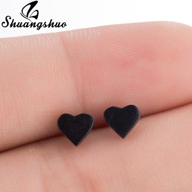 Shuangshuo винтажные черные серьги-гвоздики из нержавеющей стали в форме сердца для женщин и девочек, минималистичные ювелирные изделия, аксессуары, подарки, серьги в форме сердца