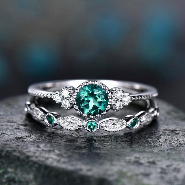 2 pçs/set 2018 Luxo Verde Azul Cristal Pedra Anéis Para Mulheres Anéis de Noivado Casamento Jóias Sliver Cor Dropship bagues pour