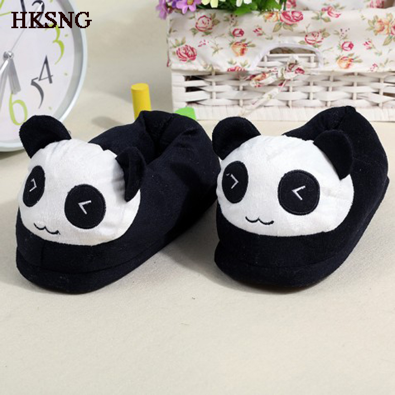 HKSNG Winter Animal Adult Warm Pikachu Shark Panda Stitch Slippers Paw Claw Indoor Floor Home Shoes Christmas Gift