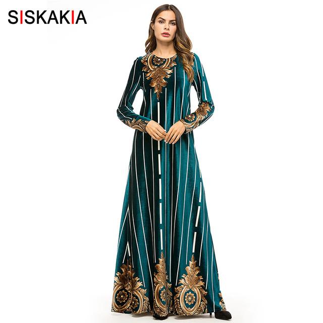 Siskakia Women Long Dress Velvet Vintage Print Maxi Dresses Muslim Ramadan Dress Elegant Round Neck Long Sleeve