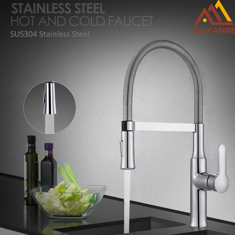 Quyanre Spring Kitchen Faucet torneira cozinha kitchen faucets chrome basin sink square cozinha taps mixers torneira de cozinha