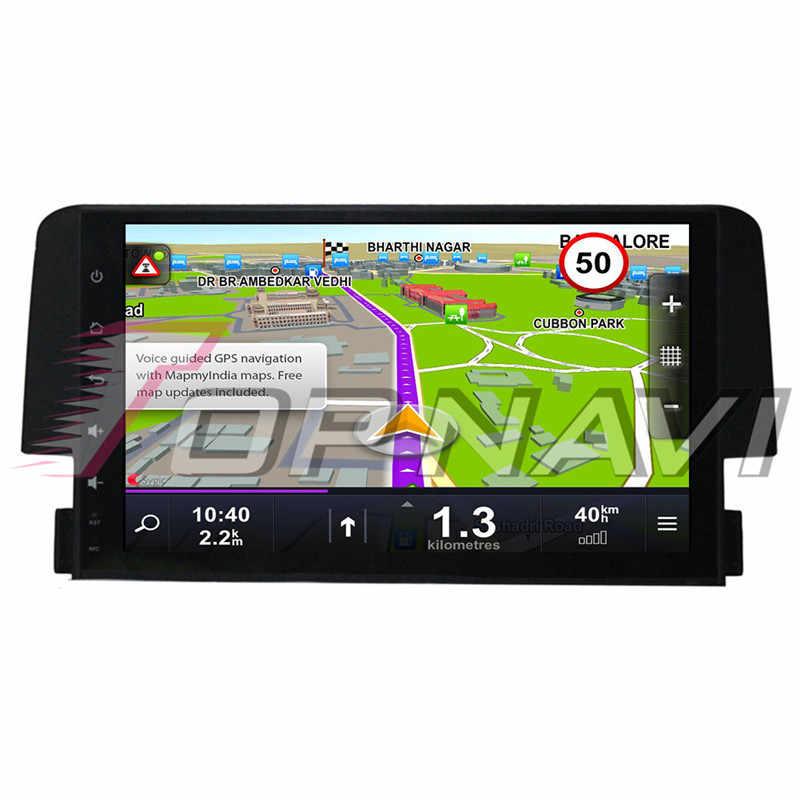 Autoradio 2 din de 9 pulgadas Android 8,1 Octa Core Multimedia para coche Honda CIVIC 2016 estéreo de Audio Magnitol GPS del coche la navegación NO DVD