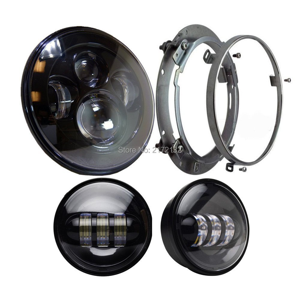 4pcs/Set 7 Daymaker Projector LED Headlamp+4.5inch Auxiliary Motorcycle led fog Light For Harley Touring Softail Trike FLHTCUSE partol 7 round led projector black headlight pc lens with drl for h d fld trike touring softail flhtcuse 7 sealed beam