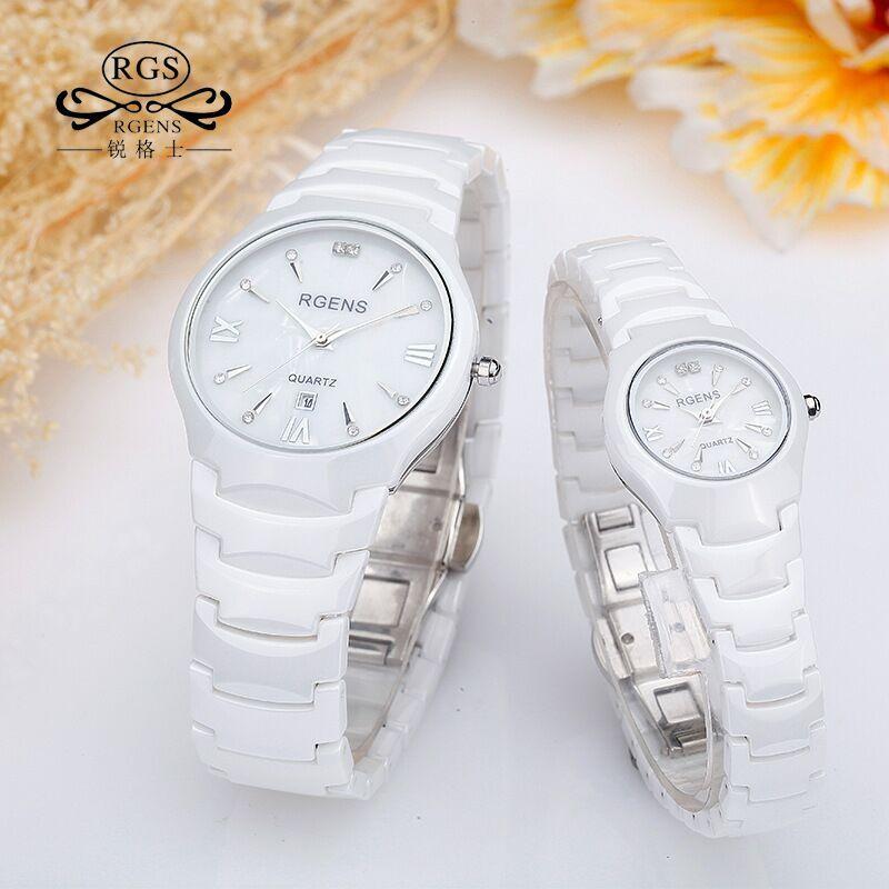 RGENS Brand Woman Man Watches 100% Ceramic White Black Waterproof Womens Mens Quartz Wristwatches Diamond Calendar Loves Clocks