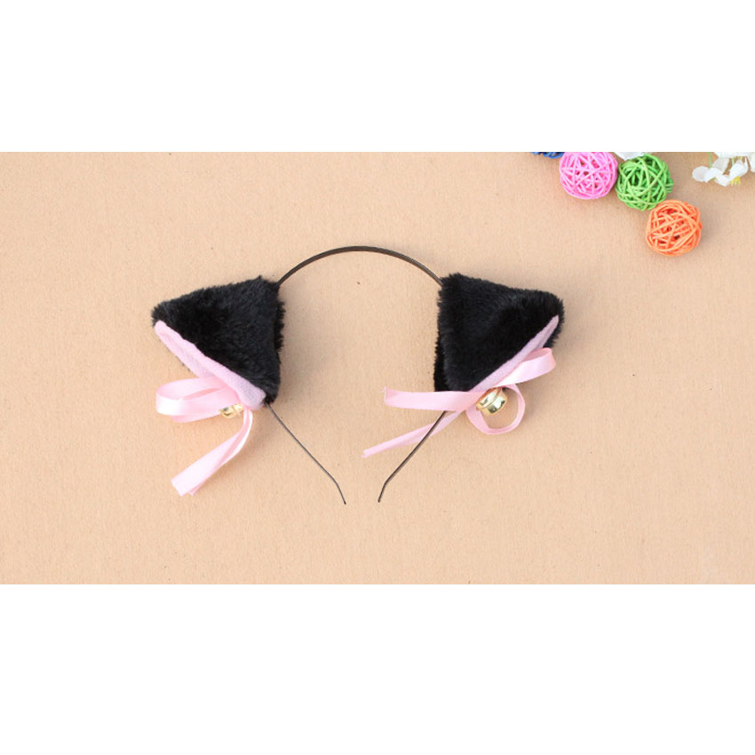 new anime neko cat cosplay fancy halloween costume accessory maid lolita hairwear cat ear hair ribbon bow bell free shipping