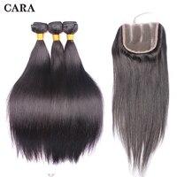 Малайзии пучки волос с закрытием Прямые локоны Связки волны добавить цельнокроеное платье Кружева Закрытие CARA волос
