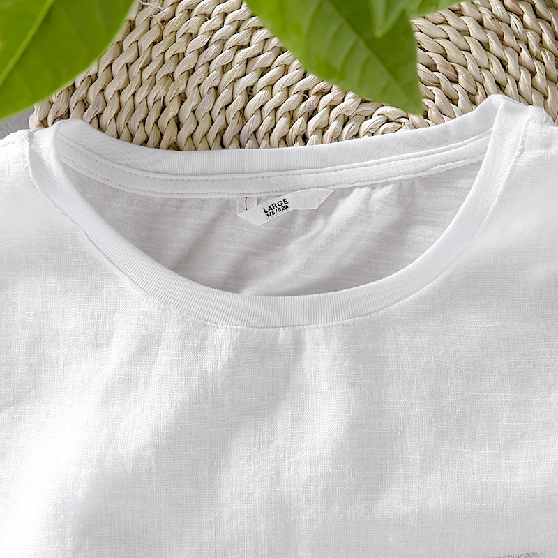 2018 Summer new casual loose men's linen short-sleeved t-shirt flax stitching t shirt mens white fashion tshirt male camiseta