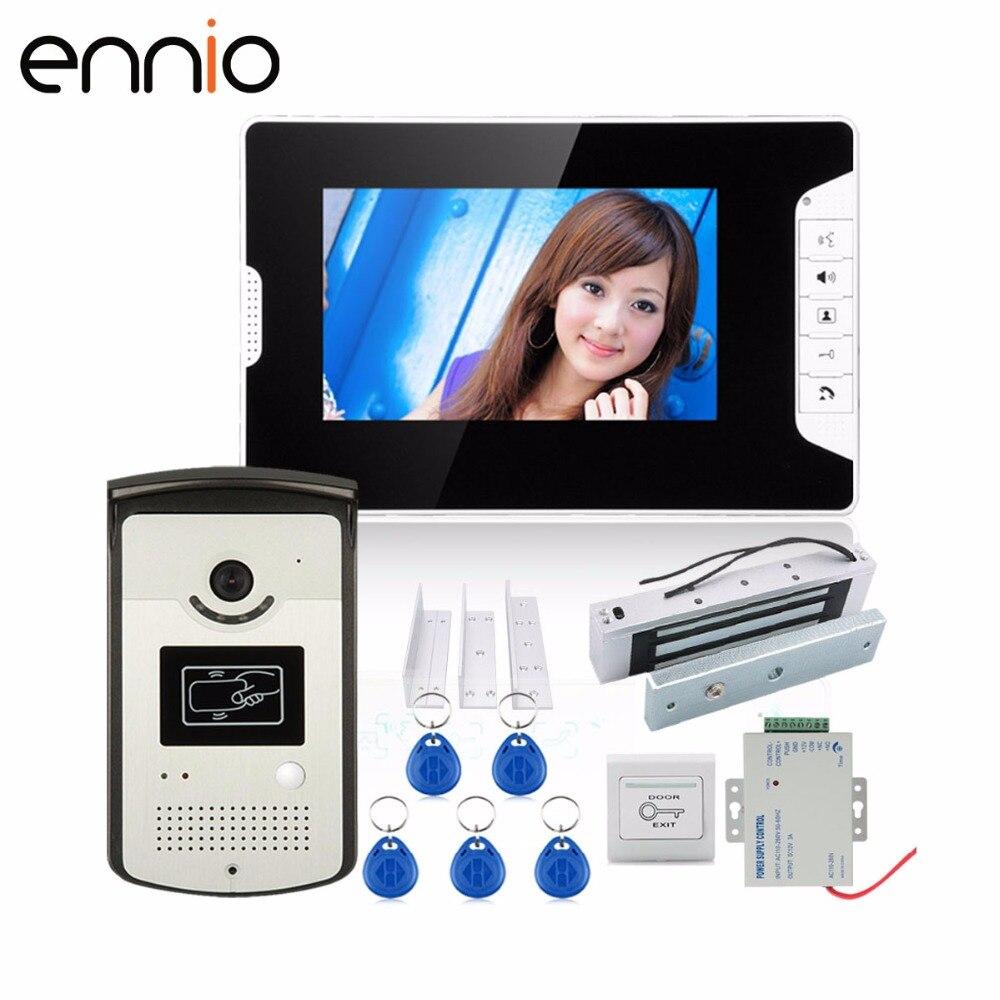 ENNIO SY813MEID11A180KG 7 Color Video Door Phone Intercom System With 1 Monitor 1 RFID HD Doorbell 1000TVL Camera +Electric iveco e a sy keygen 7 1 8 1v
