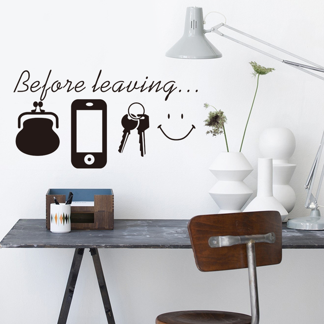 English Before Leaving Reminder Wallet Phone Key Quotes Wall Stickers Bedroom Door Decor Sticker Decals