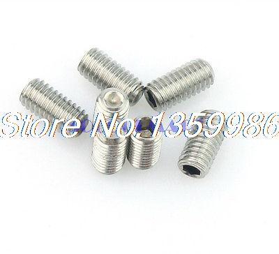 100Pcs M5X25mm SUS304 Stainless Steel Hex Socket Set Screw Without Head 20pcs m3 6 m3 x 6mm aluminum anodized hex socket button head screw