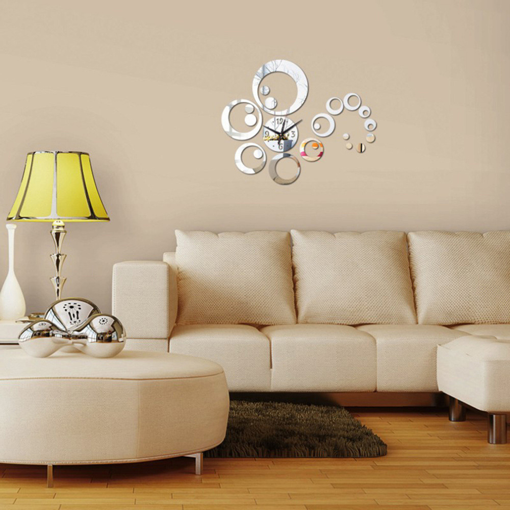 2017 Hot Mirror Sticker 3d Acrylic Wall Stickers Home Decor Europe Kitchen Horse Butterfly Christmas Wall Clock Great Gift