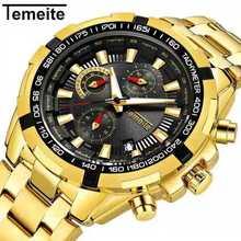 TEMEITE Golden Watch for Male Calendar Stainless Steel Quartz Wristwatch Mens Fashion Big Watches Top Brand Luxury Clock
